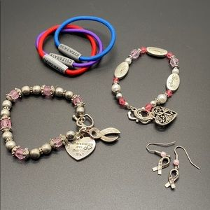 Jewelry Lot Breast Cancer Pink Ribbon Set group